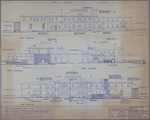 Elevation drawing of the ballroom addition in 1928
